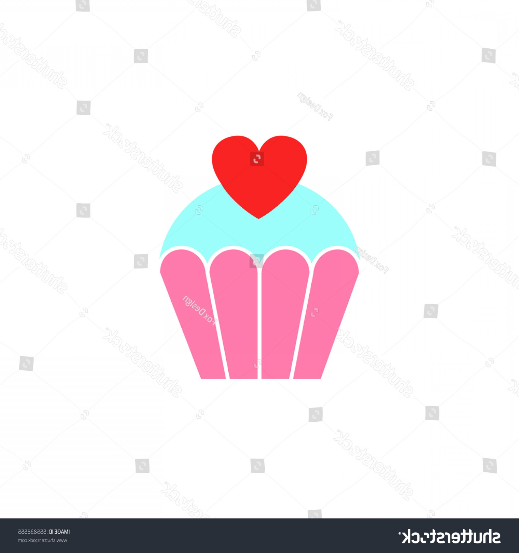 Solid Heart Vector Drawing: Love Cake Heart Solid Icon Sweets