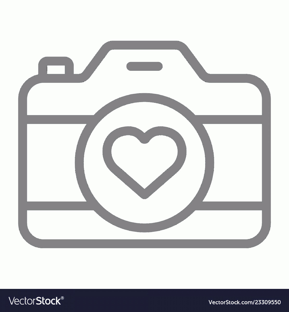 Camera Heart Clip Art Vector: Love Camera Line Icon Photography And Valentine Vector