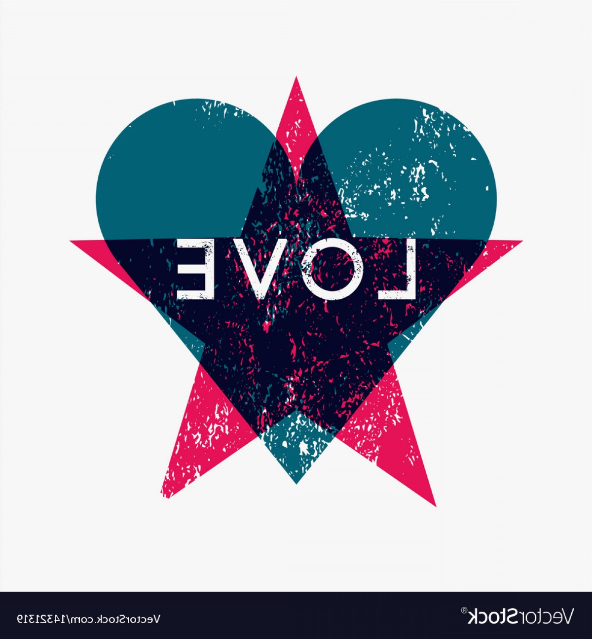 Vectors Heart And Star: Love Heart And Star Grunge Abstract Background Vector
