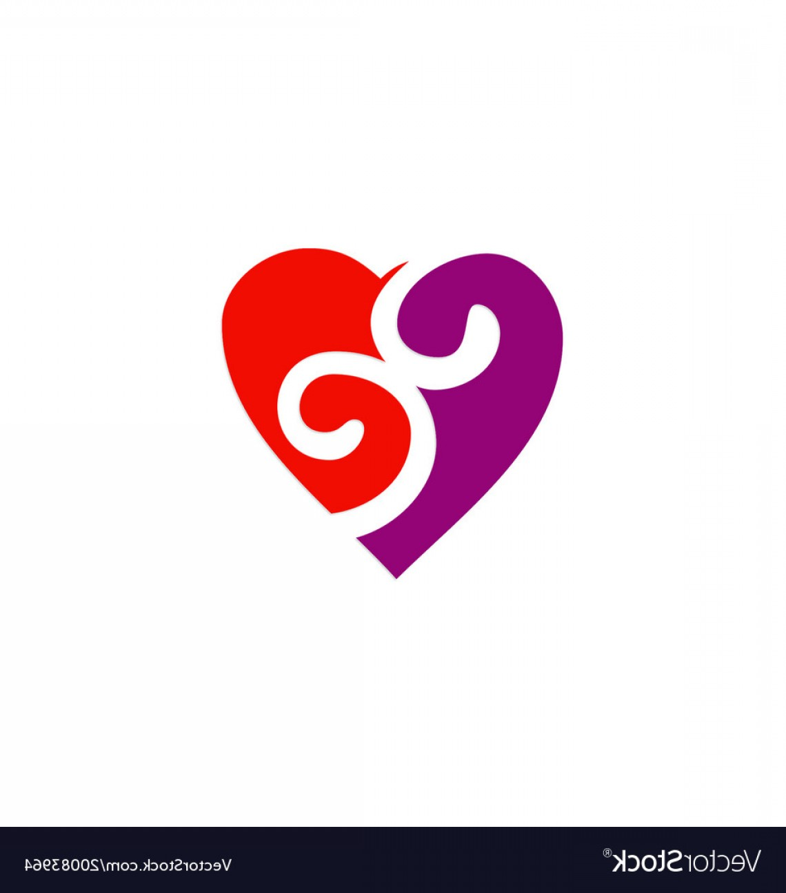 Love Heart Swirl Vector: Love Heart Couple Swirl Logo Vector