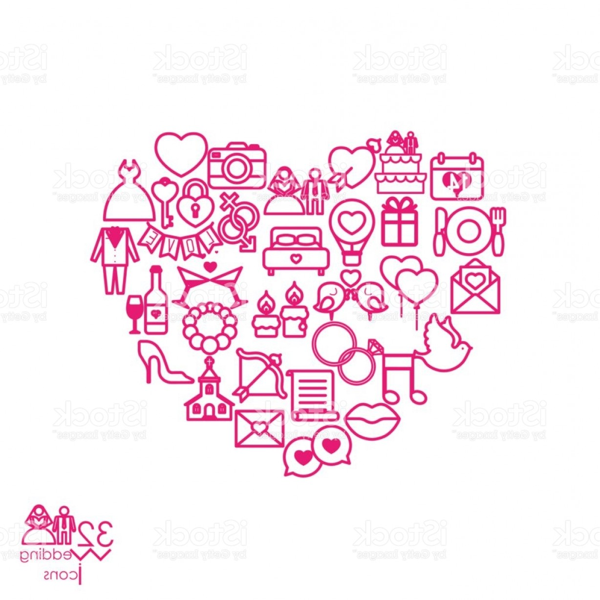 Sign Shapes Vector Art: Love Icon Objects In The Heart Sign Shape Gm