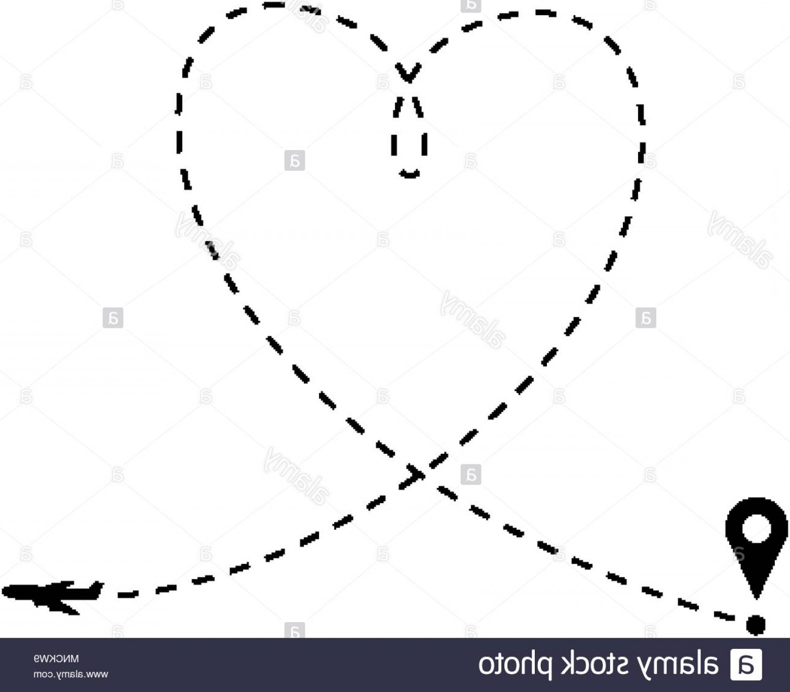 Black Heart And Plane Vector: Love Is In The Air Concept Plane And Heart Shaped Path Image