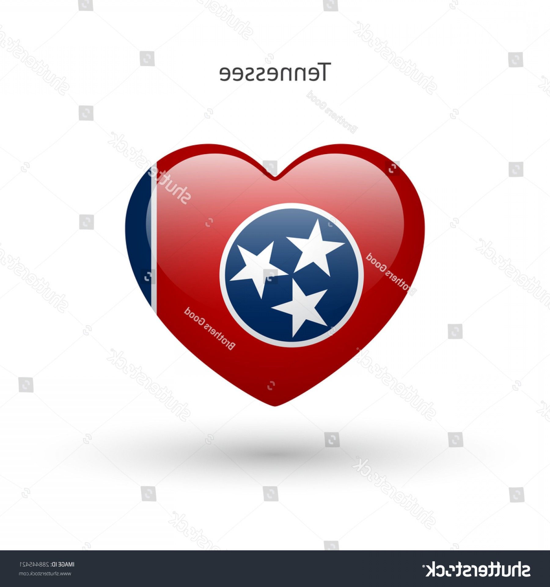 Tennessee Flag Vector: Love Tennessee State Symbol Heart Flag
