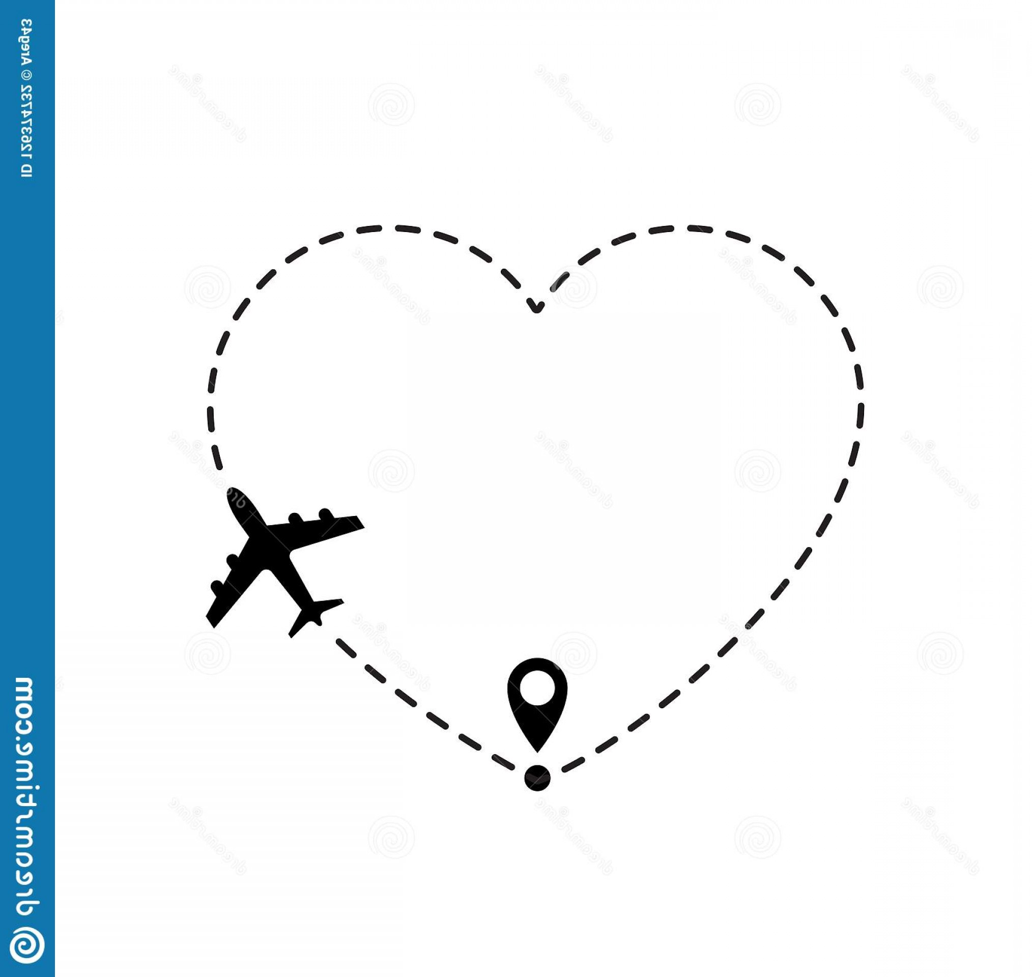 Black Heart And Plane Vector: Love Travel Route Airplane Line Path Vector Icon Air Plane Flight Route Line Trace Love Travel Route Airplane Line Path Image