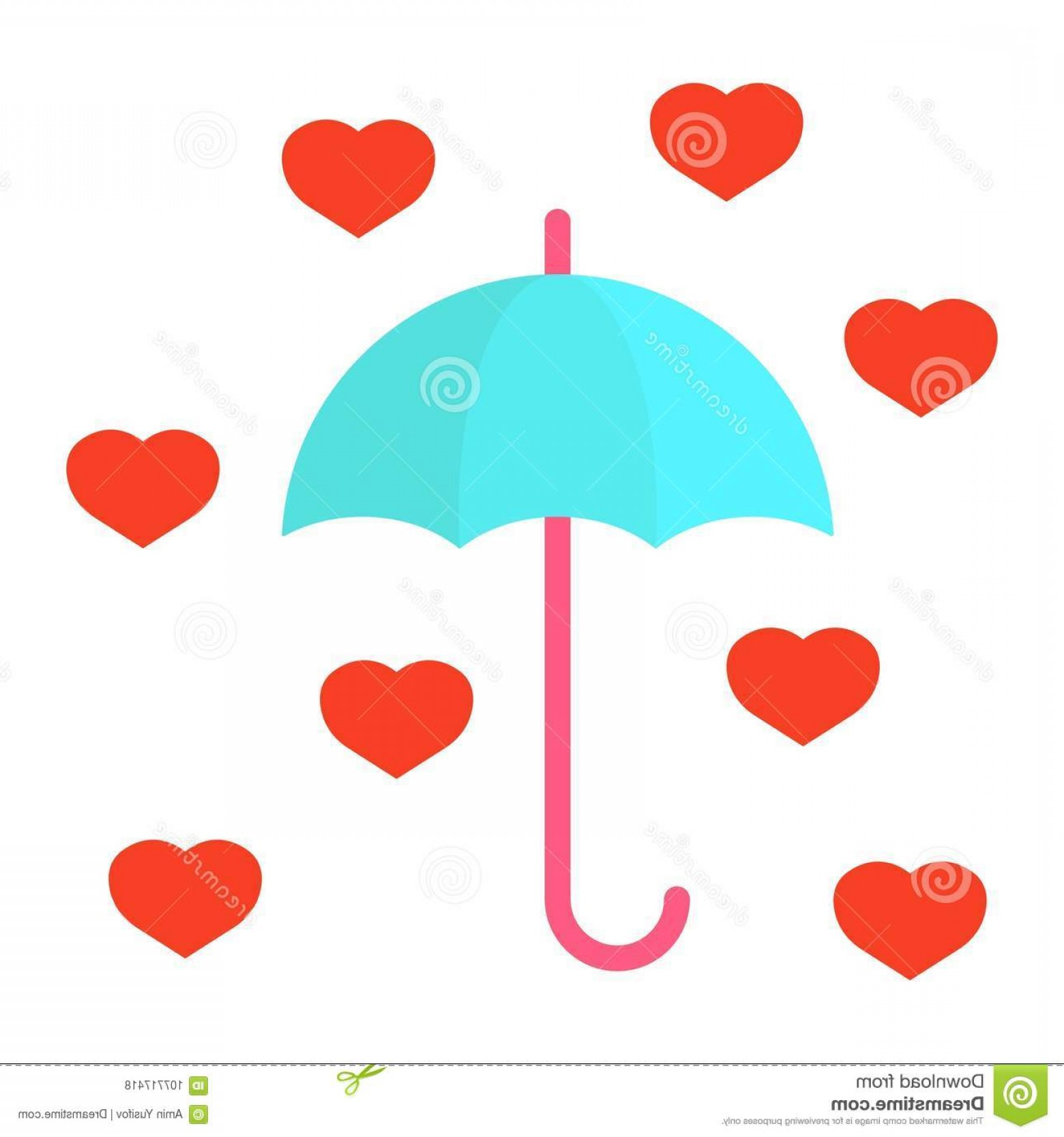 Solid Heart Vector Drawing: Love Umbrella Flat Icon Valentines Day Romantic Hearts Sign Vector Graphics Colorful Solid Pattern White Background Eps Image