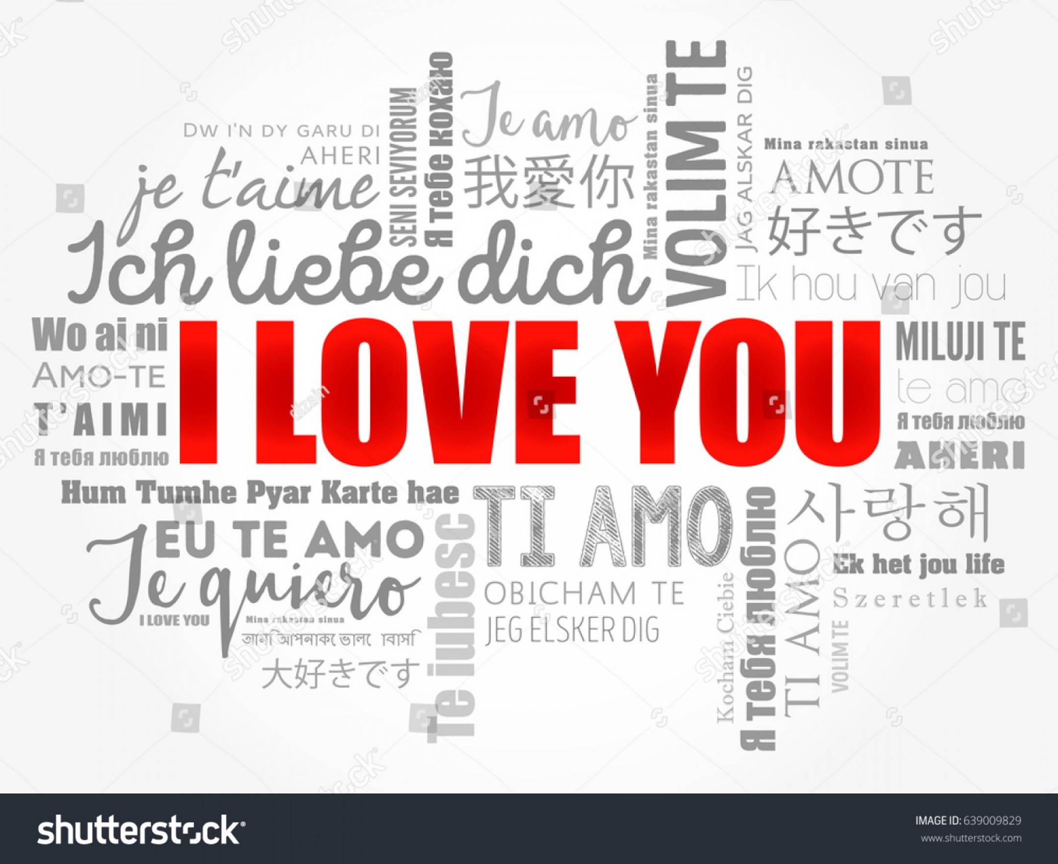 Vector Te Amos: Love Words I You All Languages