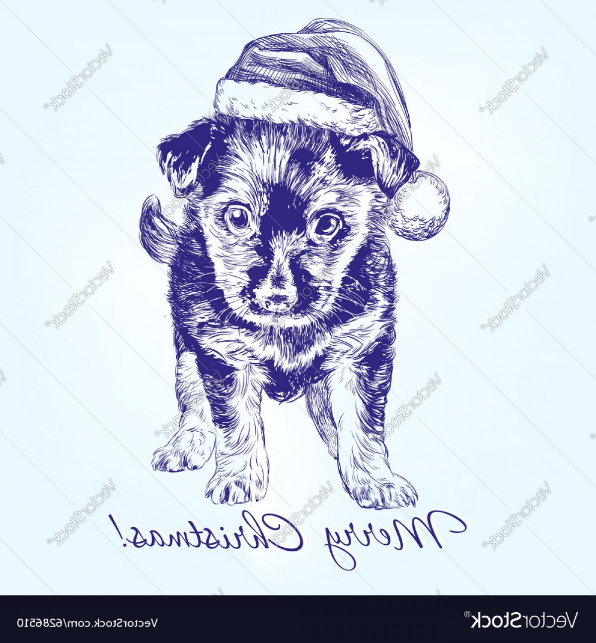 Stocking Hat Vector: Lovely Christmas Puppy In Santa Stocking Hat Hand Drawn Vector