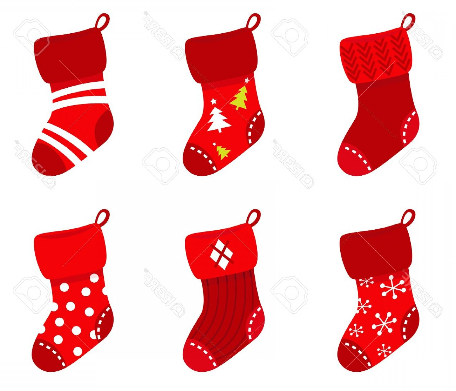 Stocking Hat Vector: Lovely Photocute Christmas Socks Set Vector Cartoon Illustration