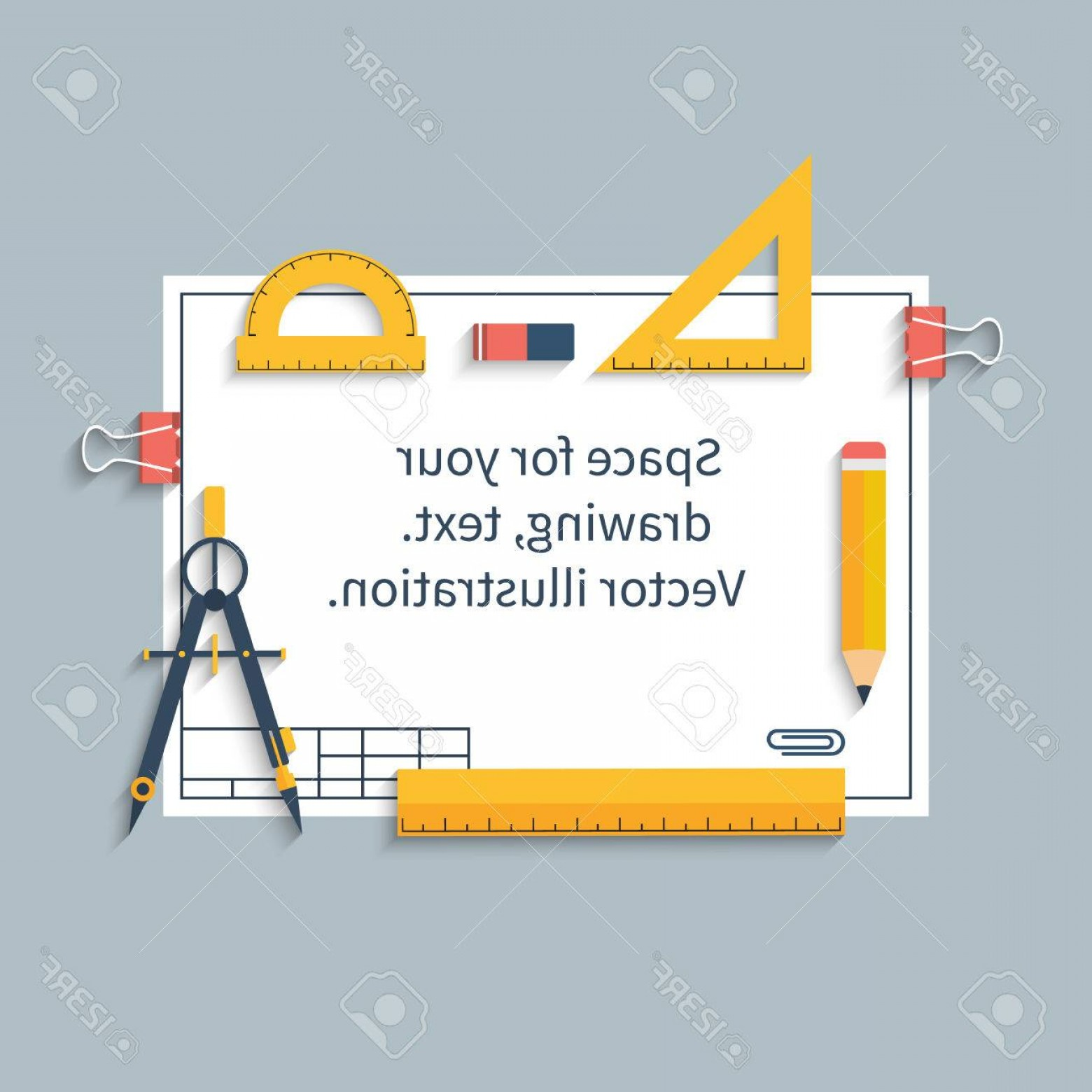 Tools For Text Vector: Lovely Photostock Vector Drawing Tools On Paper With Space For Drawings And Text Ruler Protractor Compass Pencil Paper Vector
