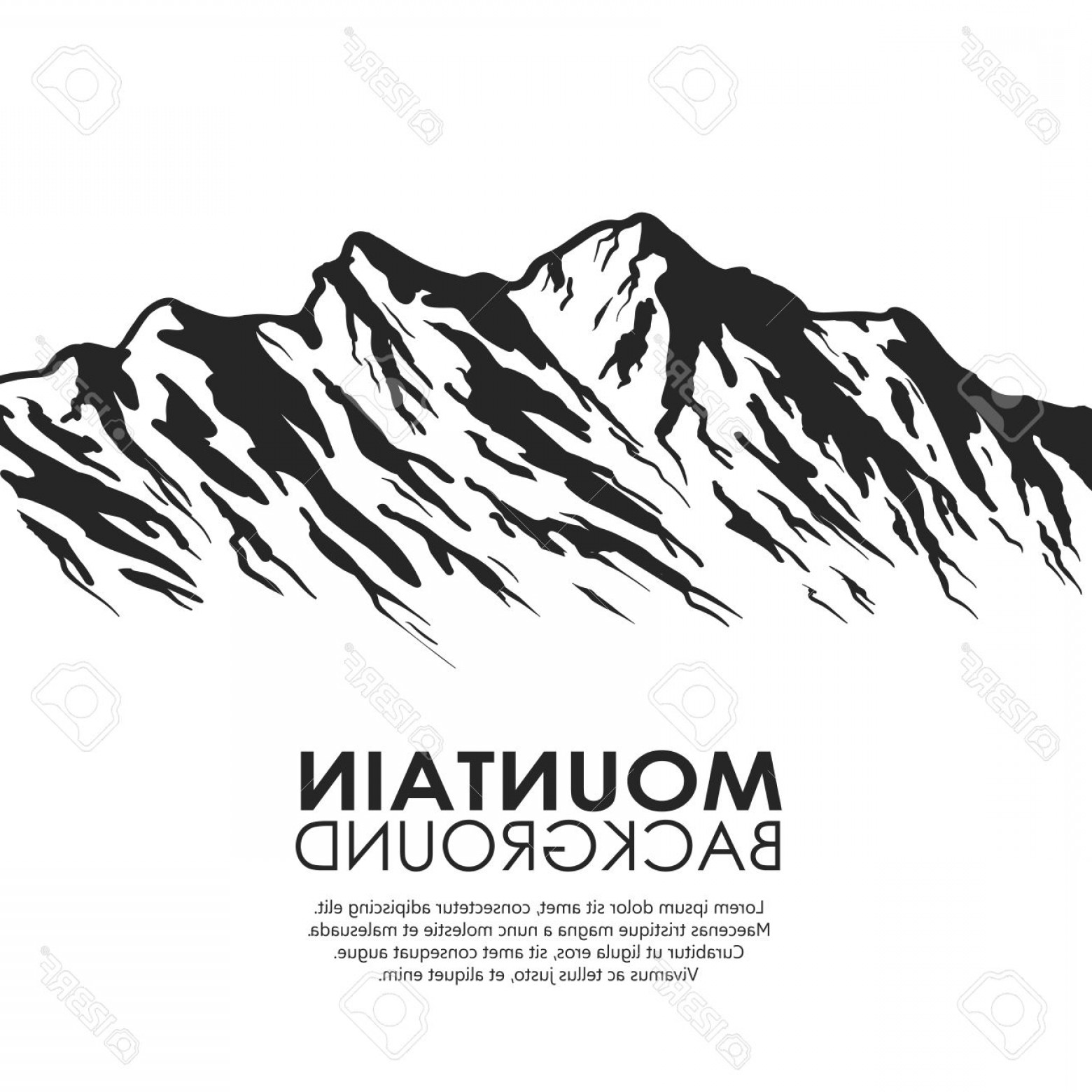 Mountain Range Silhouette Vector Free: Lovely Photostock Vector Mountain Range Isolated On White Background Black And White Huge Mountains