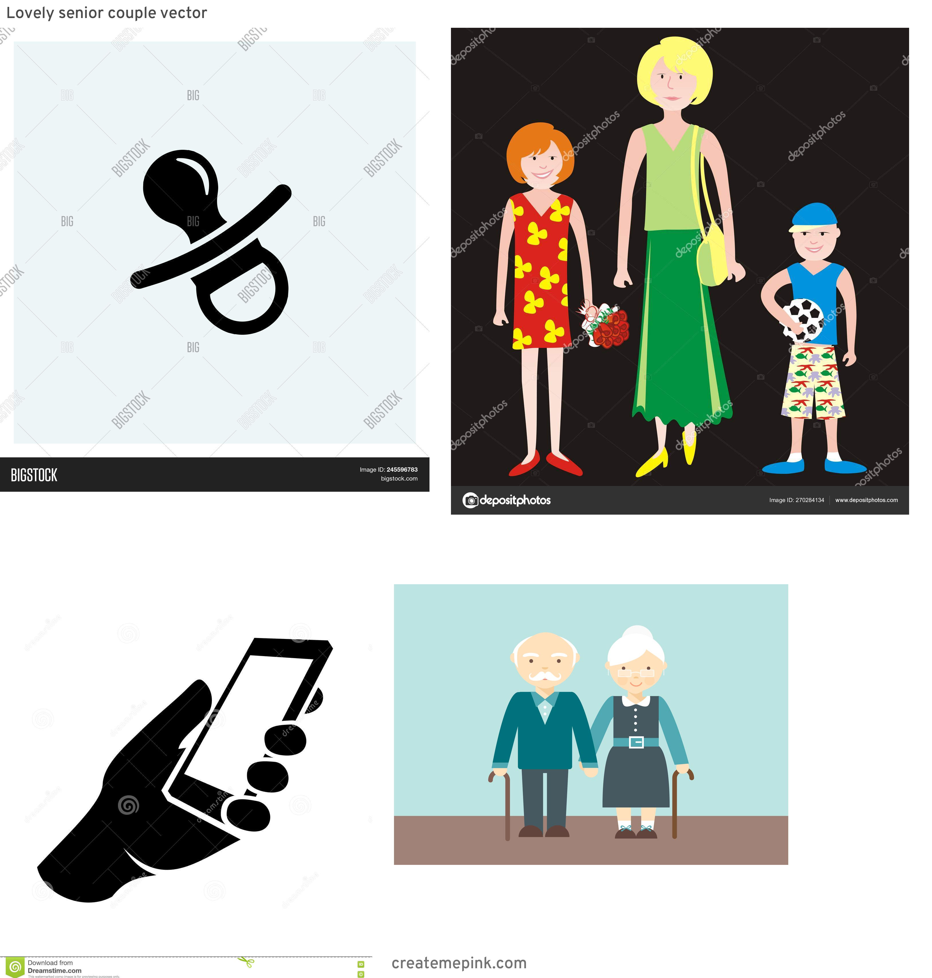Daughter Vector Icons: Lovely Senior Couple Vector