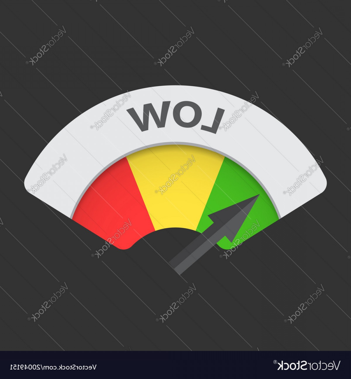 Low High Meter Vector: Low Level Risk Gauge Icon Low Fuel On Black Vector
