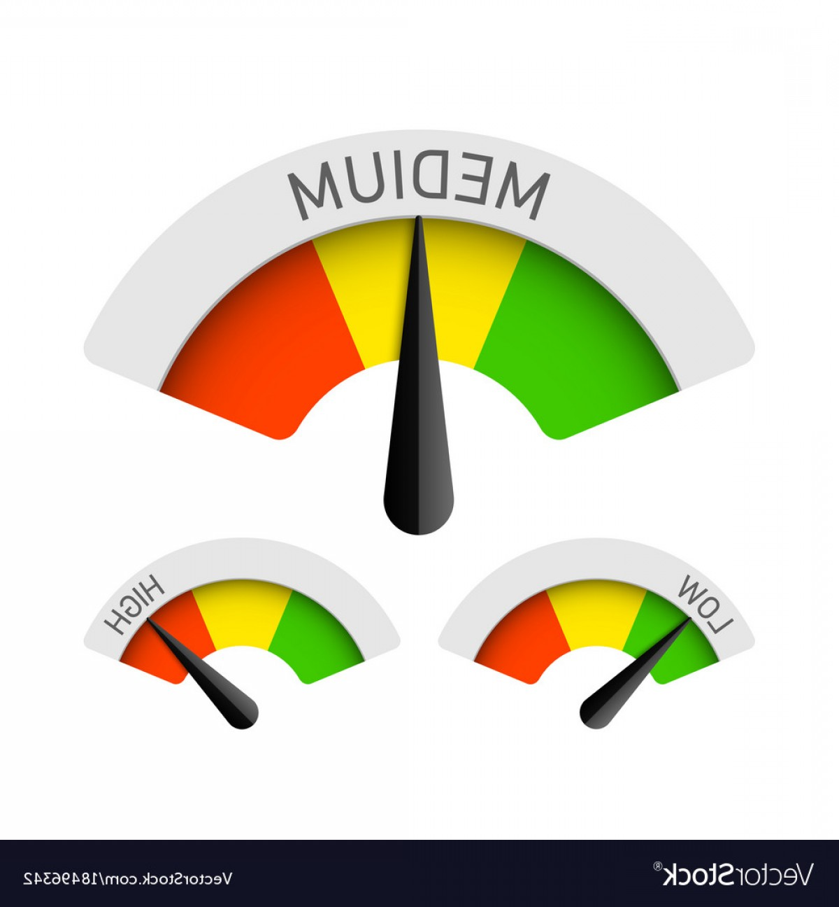 Low High Meter Vector: Low Medium And High Gauges Vector