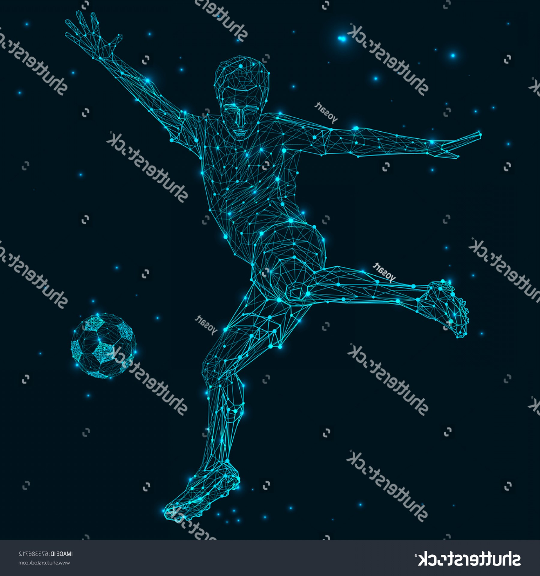 Abstract Football Vector Outline: Low Poly Wire Outline Geometric Illustration