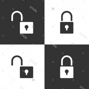 Vector Lock White: Lock And Unlock Icon Set On Black And White Background Vector Illustration Image
