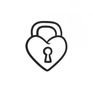 Heart Lock Vector: Photostock Vector Heart Lock Vector Icon Flat Gray Symbol Pictogram Is Isolated On A White Background Designed For Web