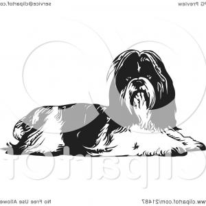 Shih Tzu Clipart-Vector: A Kind Shih Tzu Dog With A Wine Cellar Background