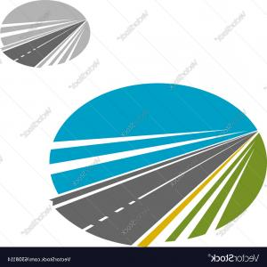 Vector Long Road: Long Road Or Highway And Blue Sky Icon Vector