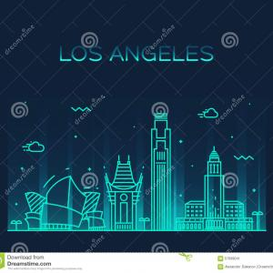 La Hollywood Skyline Vector: Los Angeles California Usa Urban Skyline Image