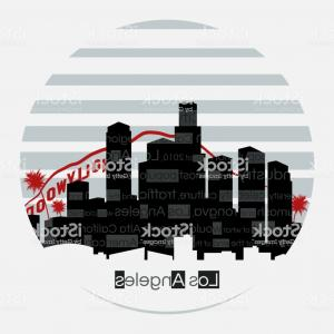 Hollywood Skyline Silhouette Vector: Los Angeles Silhouette Vector Round Label Gm