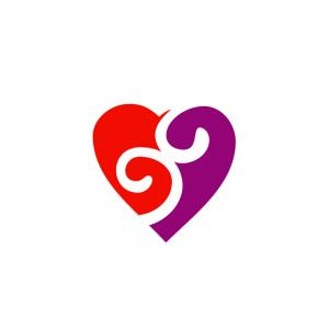 Love Heart Swirl Vector: Heart Decorative Element Curly Swirls Vector