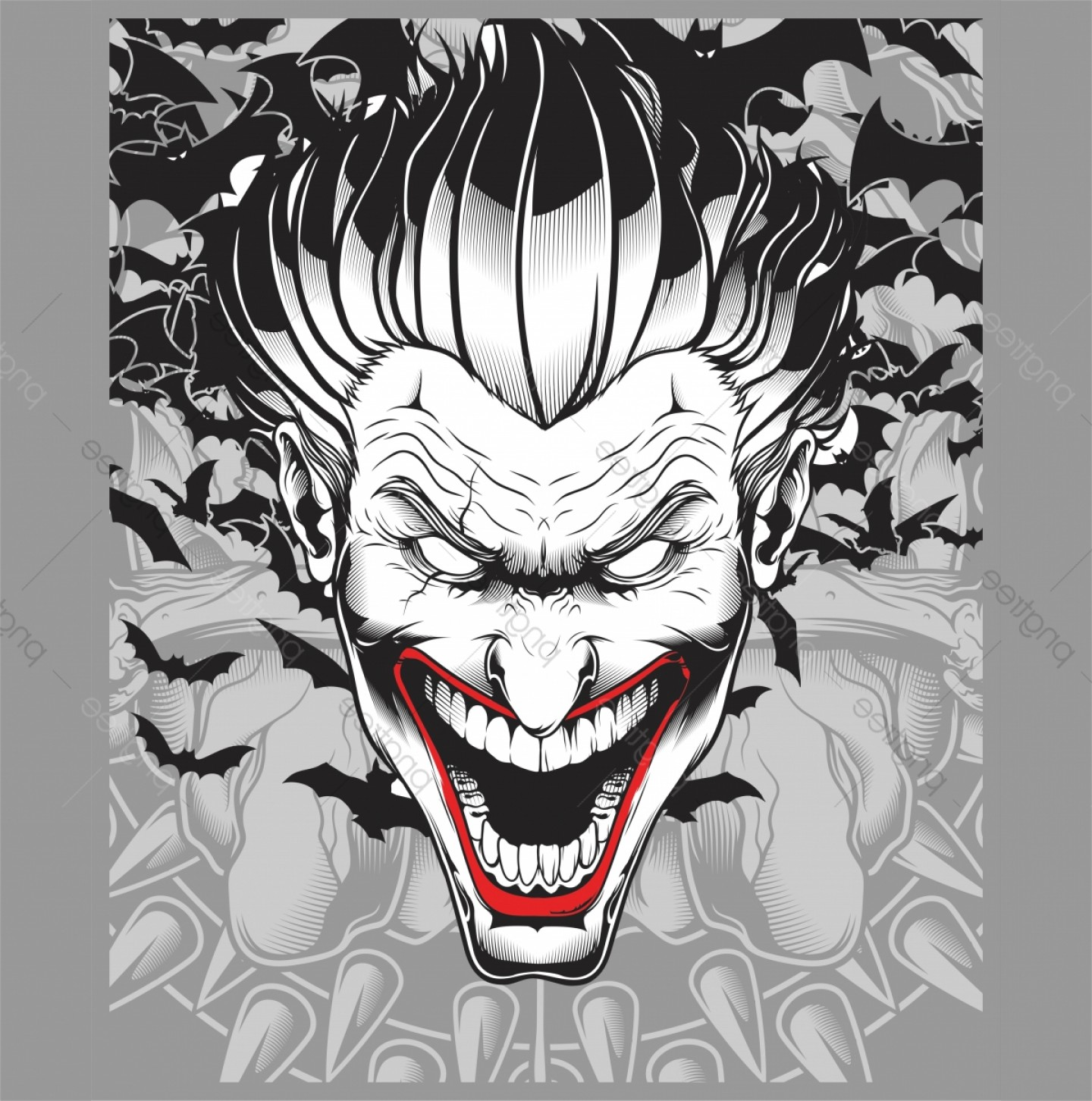 Cool Evil Vectors: Lucifer Evil Demon Joker Hand Drawing Vector