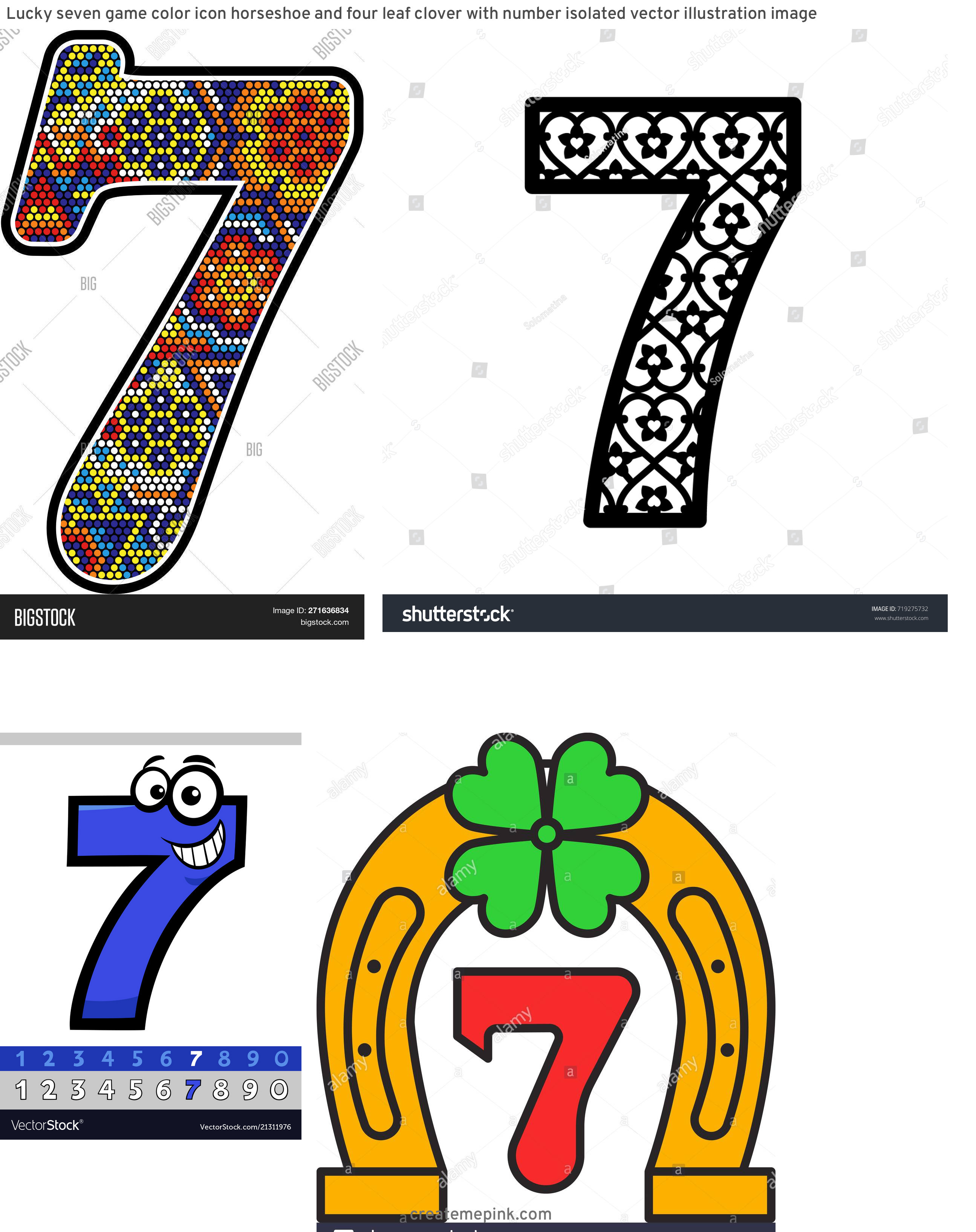 Stock Vector Number 7 Clip Art: Lucky Seven Game Color Icon Horseshoe And Four Leaf Clover With Number Isolated Vector Illustration Image