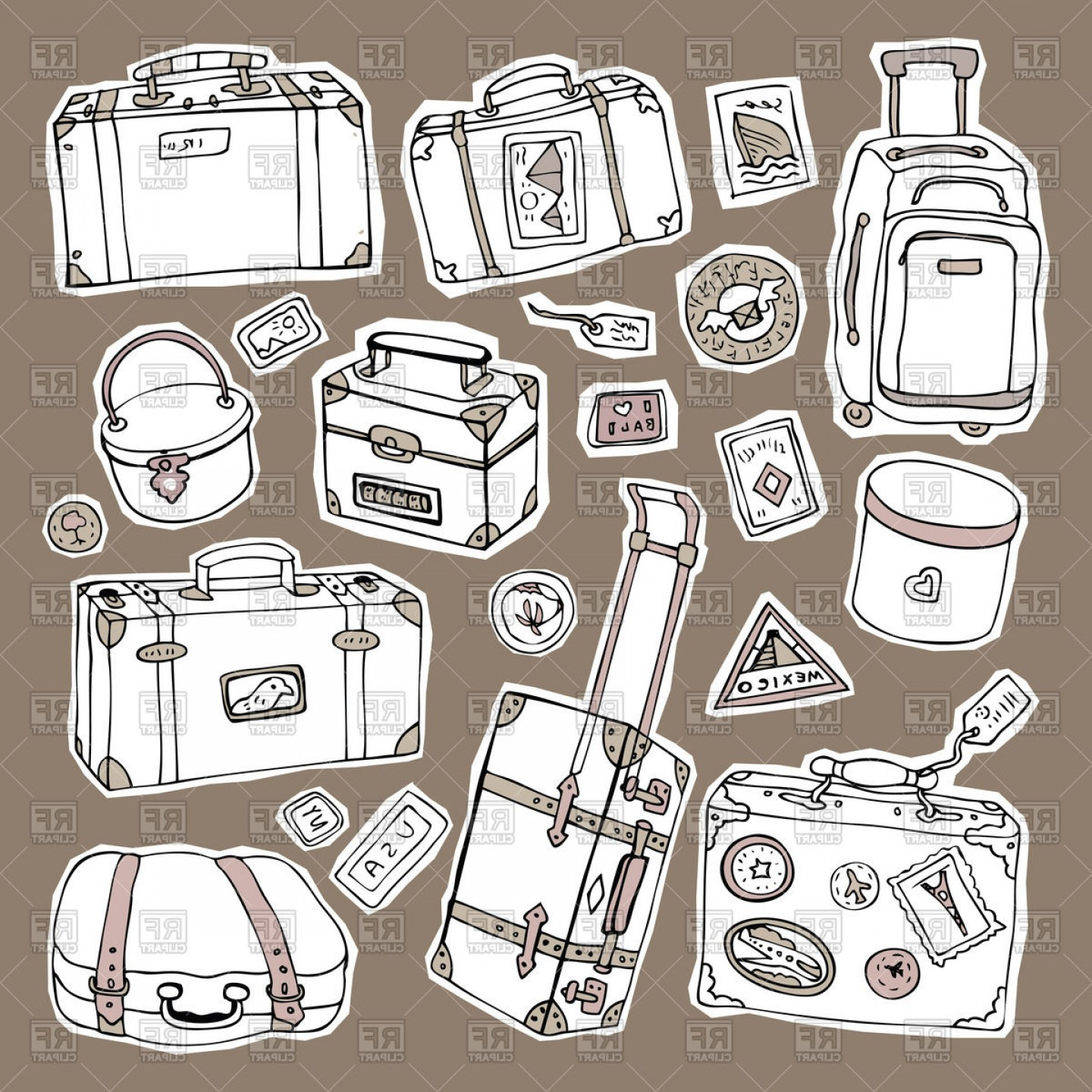 Vintage Luggage Vector: Luggage Collection Of Vintage Suitcases Boxes And Bags Vector Clipart