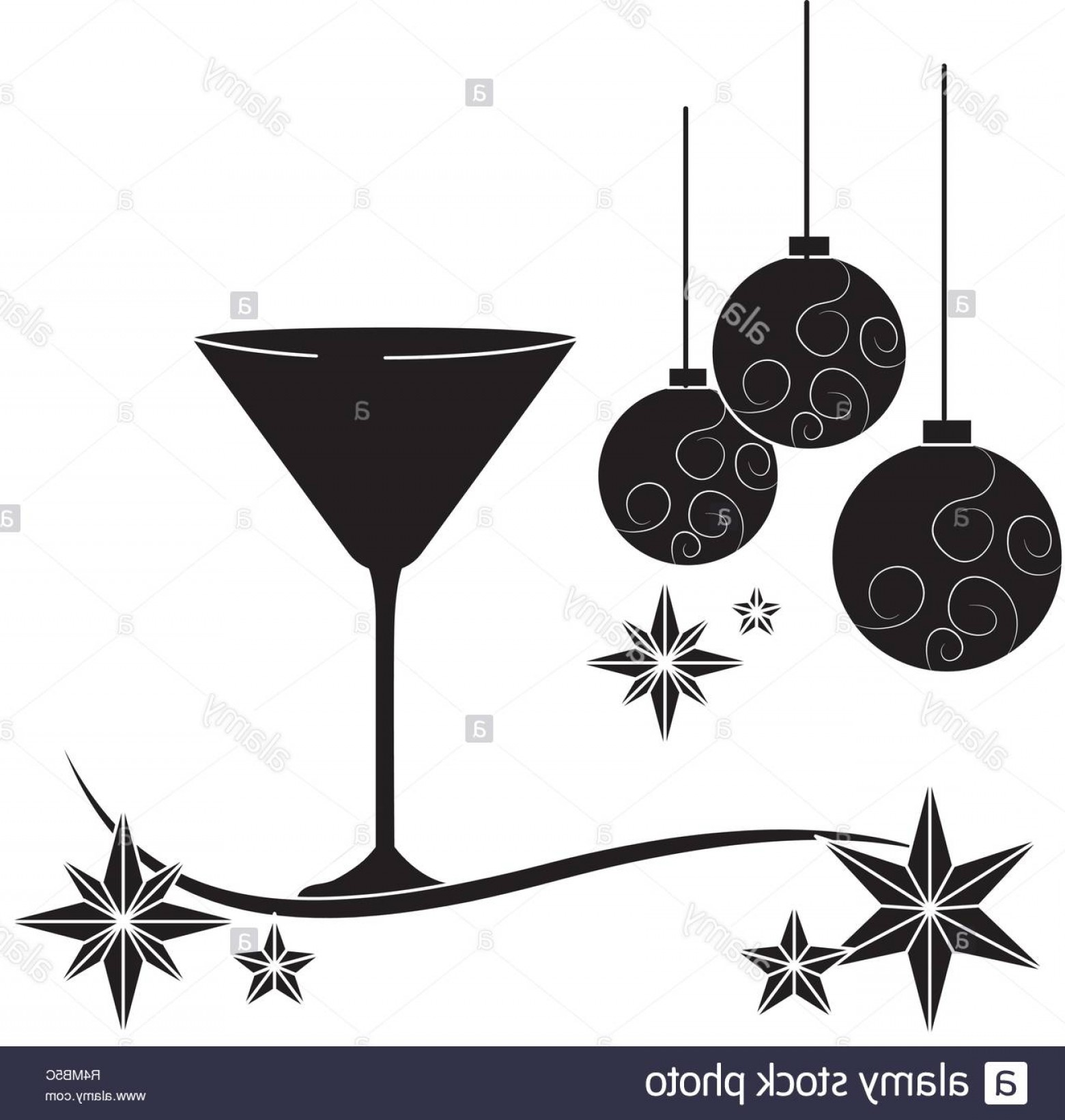 Cocktail Glasses Vector Art Decor: Luxury And Elegant Champagne Glass With Christmas Decorations Cartoon Vector Illustration Graphic Design Image
