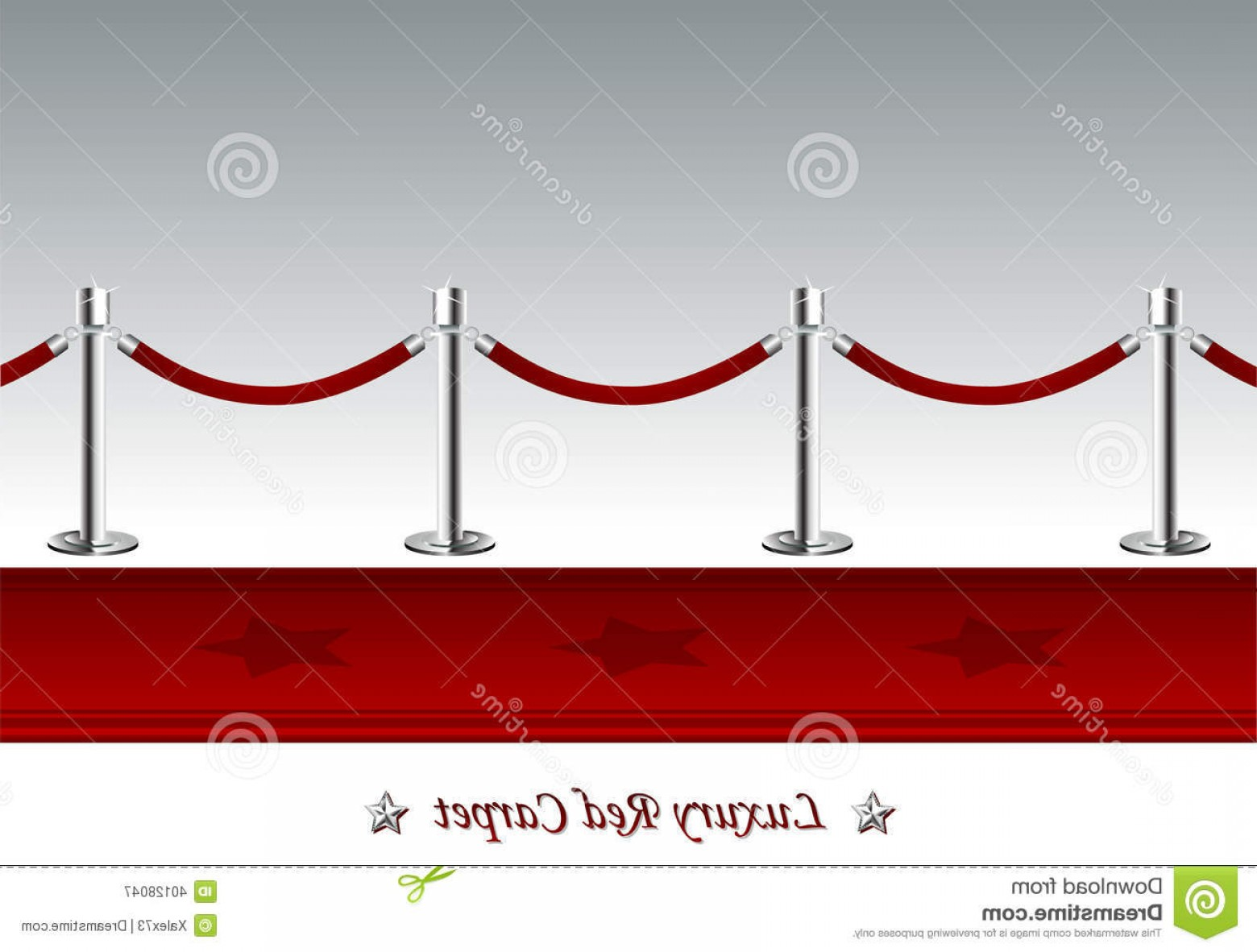 Carpet Vector 2D: Luxury Red Carpet With Barrier Rope Illustration