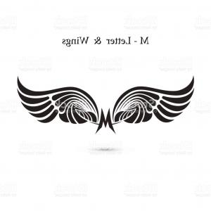 Torn Angel Wings Vector: M Letter Sign And Angel Wings Monogram Wing Icon Classic Emblem Elegant Dynamic Gm