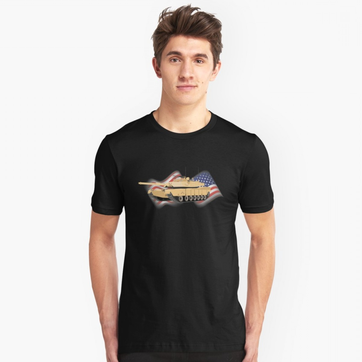 M1A1 Vector Top: Ma Abrams Tank With American Flag