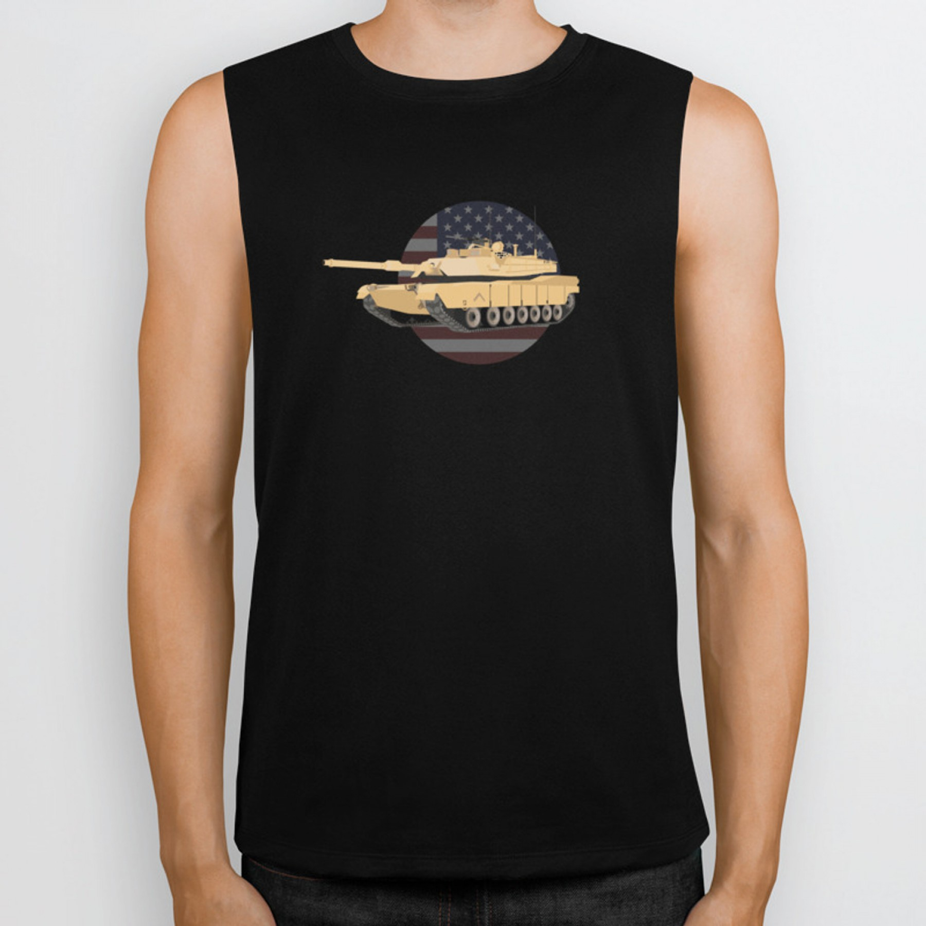M1A1 Vector Top: Ma Abrams Tank With American Flagbiker Tank