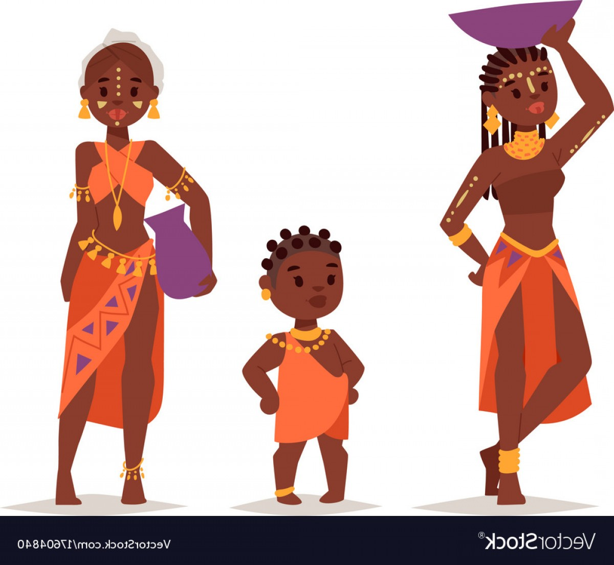 Vector African People: Maasai African People In Traditional Clothing Vector