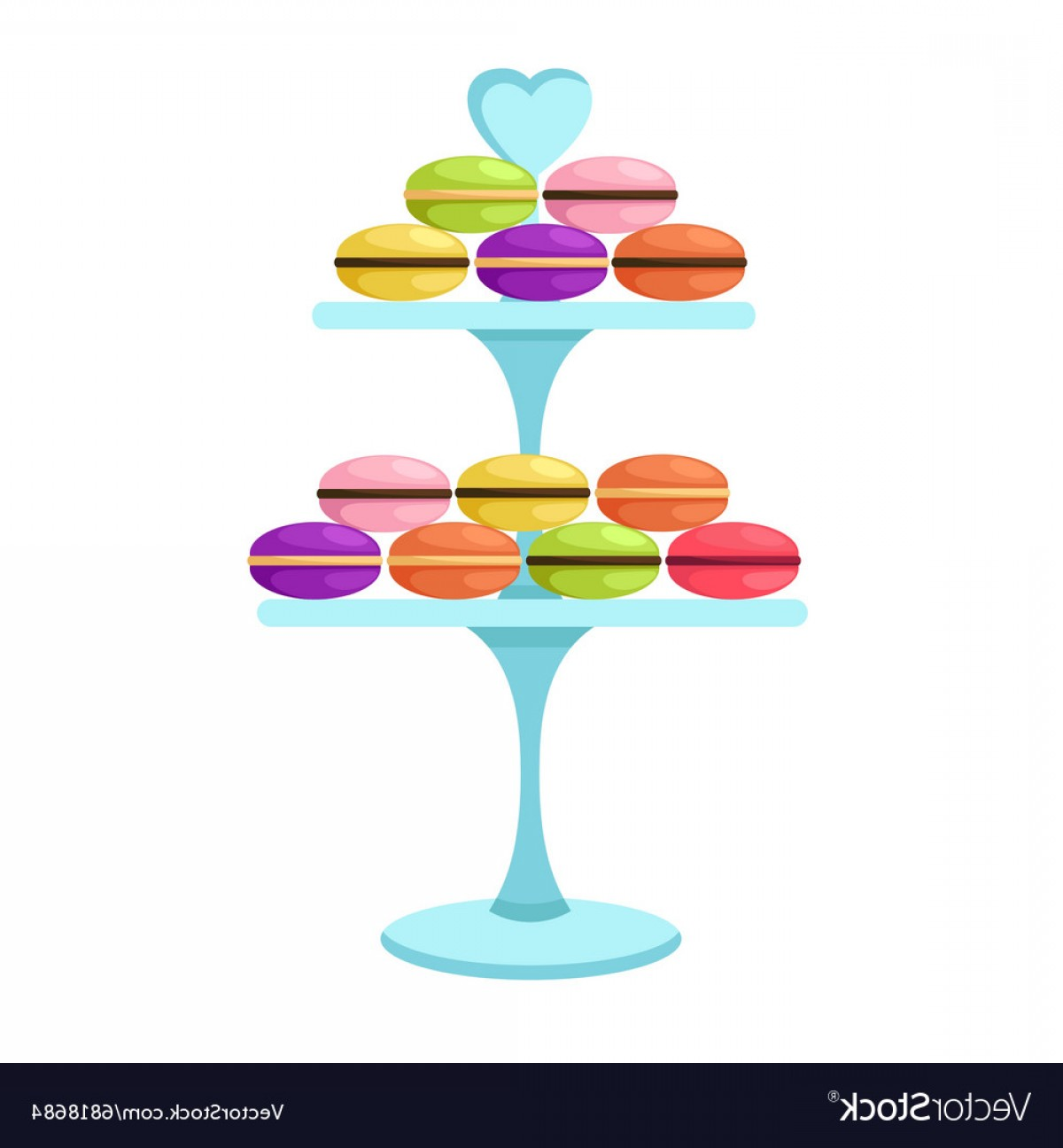 Cake Stand Vector: Macarons In A Glass Cake Stand Vector