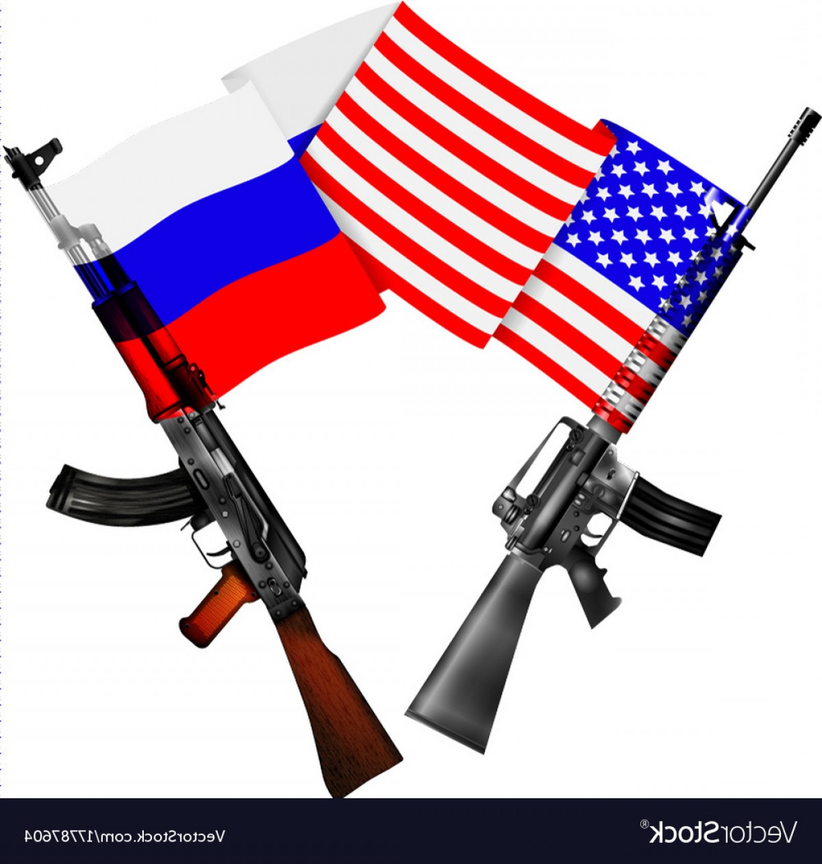 American Gun Vector: Machine Guns Of The Usa And Russia With National Vector