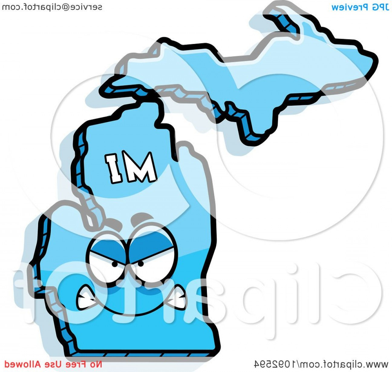 Michigan Vector Artwork: Mad Blue Michigan State Character