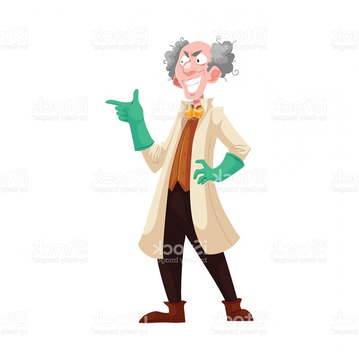 Lab Coat Cartoon Vector: Mad Professor In Lab Coat And Green Rubber Gloves Gm