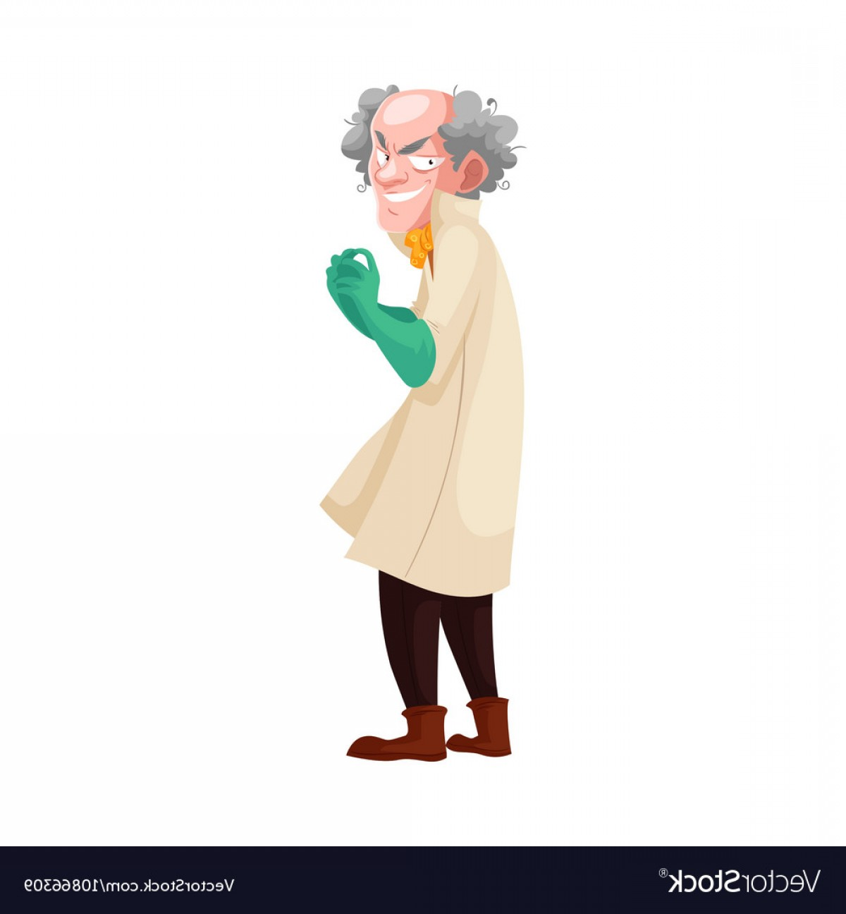 Lab Coat Cartoon Vector: Mad Professor In Lab Coat And Green Rubber Gloves Vector