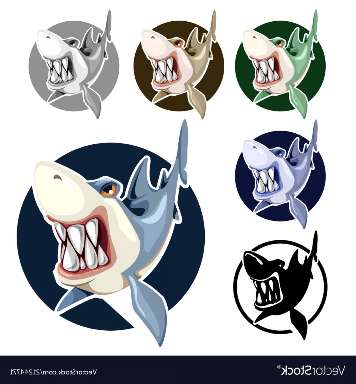 Mad Vector: Mad Shark Bares His Teeth Isolated On White Vector