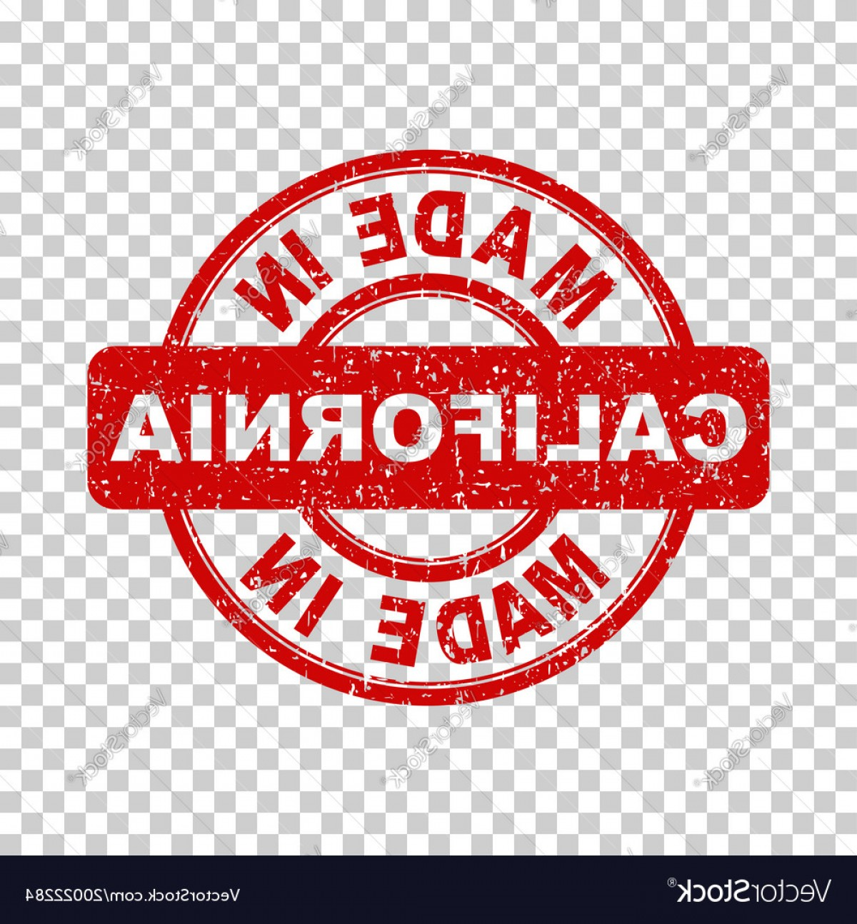California Seal Vector EPS: Made In California Red Stamp On Isolated Vector