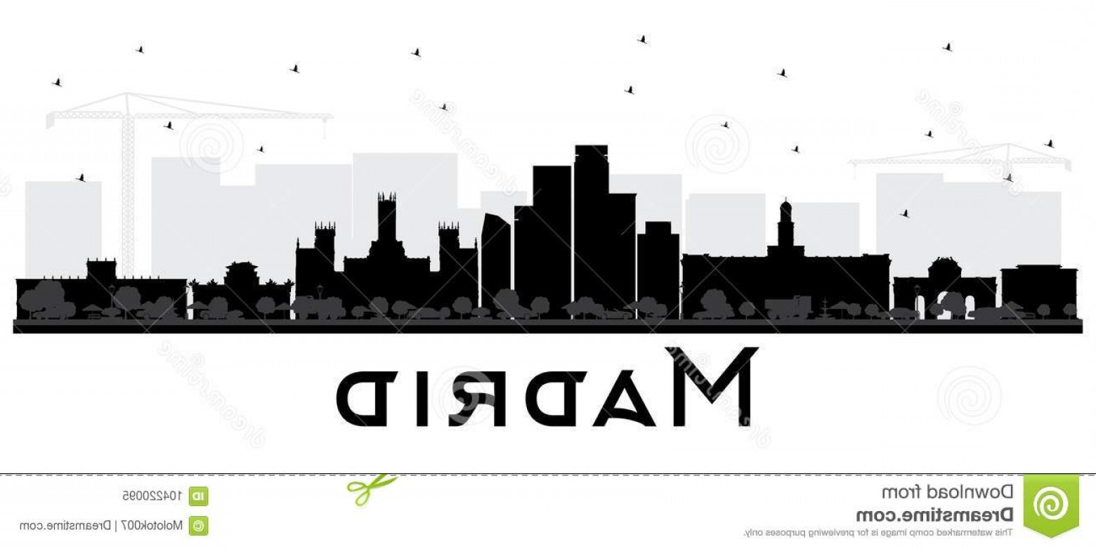 Wicked Boston Skyline Silhouette Vector: Madrid Spain Skyline Black White Silhouette Vector Illustration Simple Flat Concept Tourism Presentation Banner Placard Image