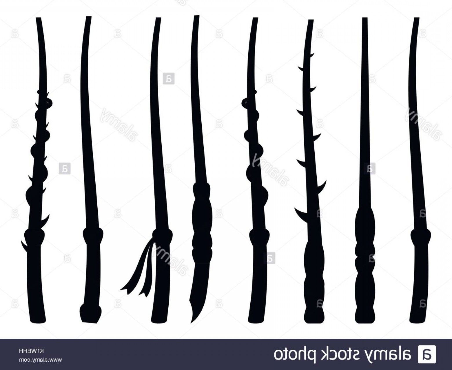 Wizard Silhouette Vector: Magic Wands Silhouette On A White Background Wizard Tool Vector Illustration Image