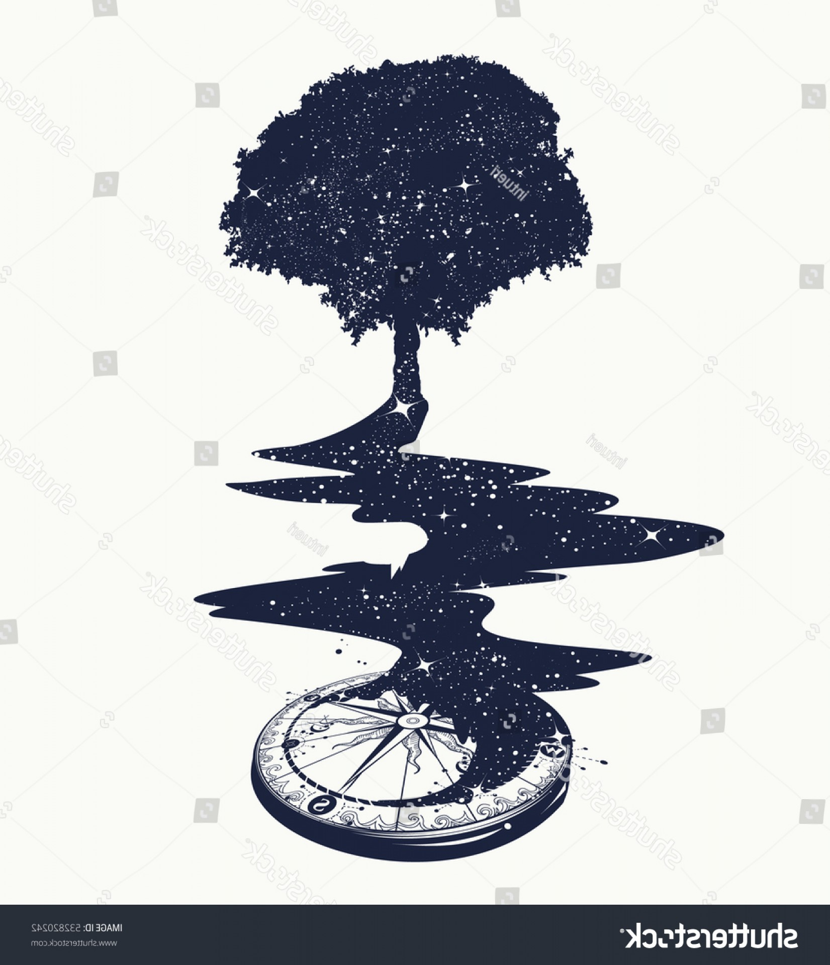River Silhouette Vector Art: Magical Tree Tattoo Art River Stars
