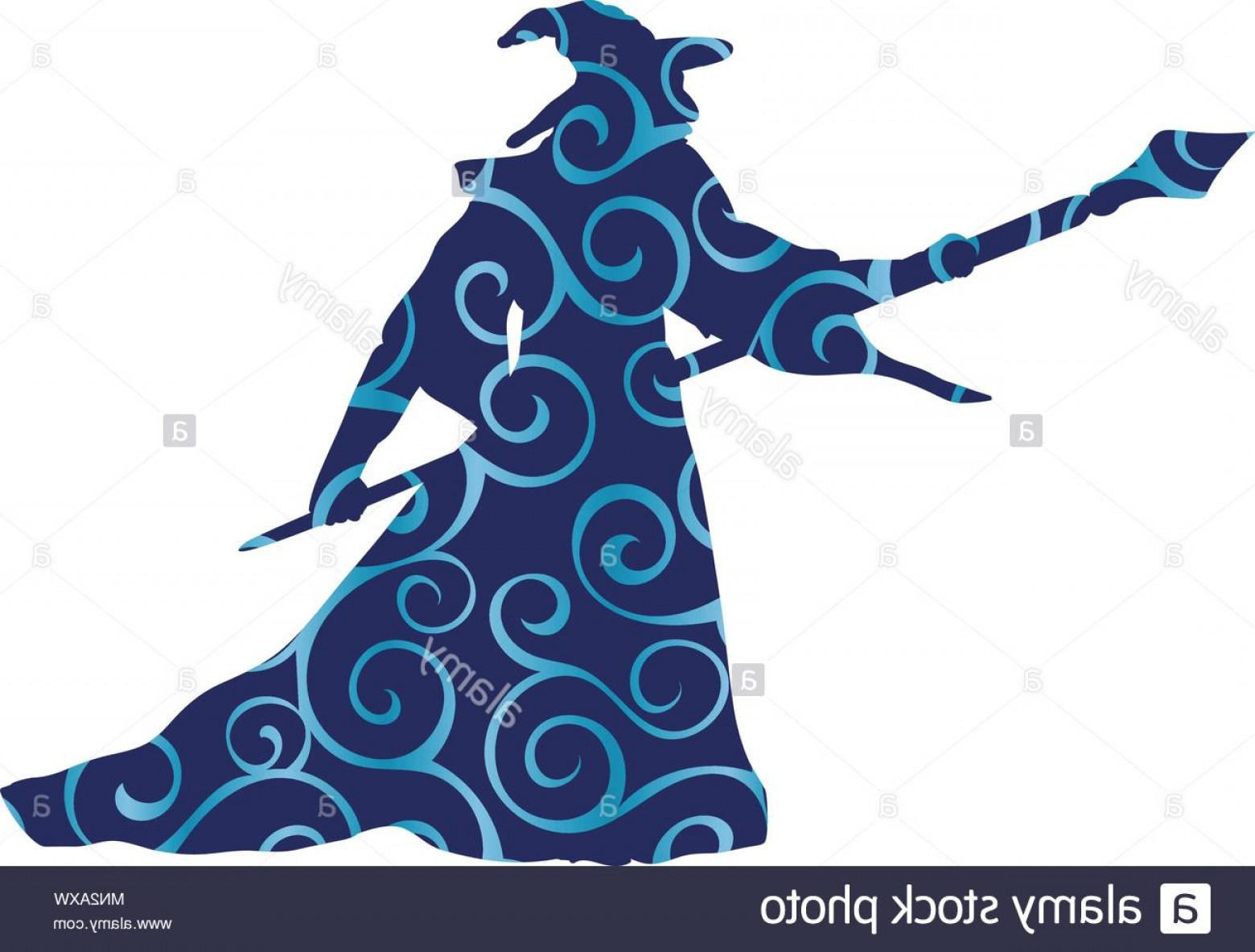 Wizard Silhouette Vector: Magician Wizard Character Pattern Silhouette Fantasy Image