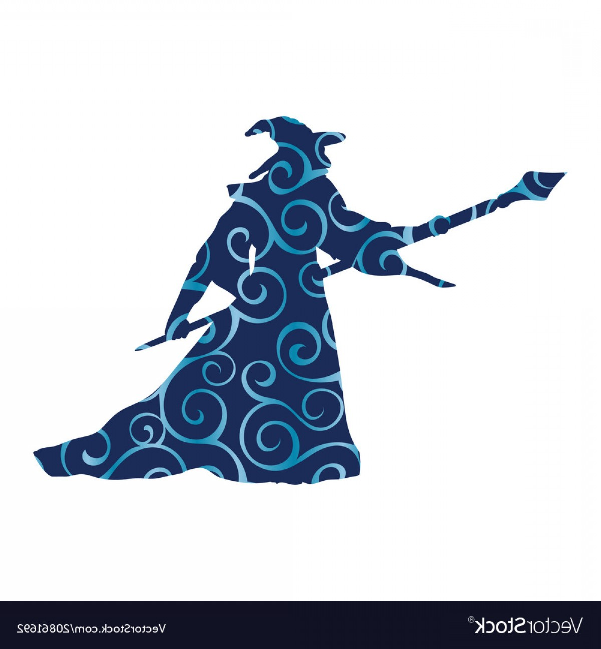 Wizard Silhouette Vector: Magician Wizard Character Pattern Silhouette Vector