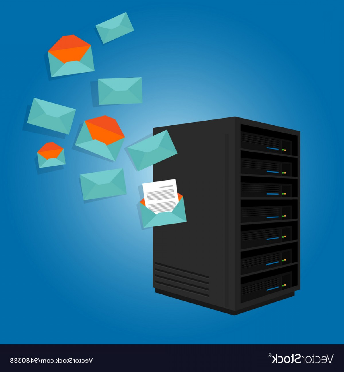 Vector Email Server: Mail Server Send Spam Many Emails Vector