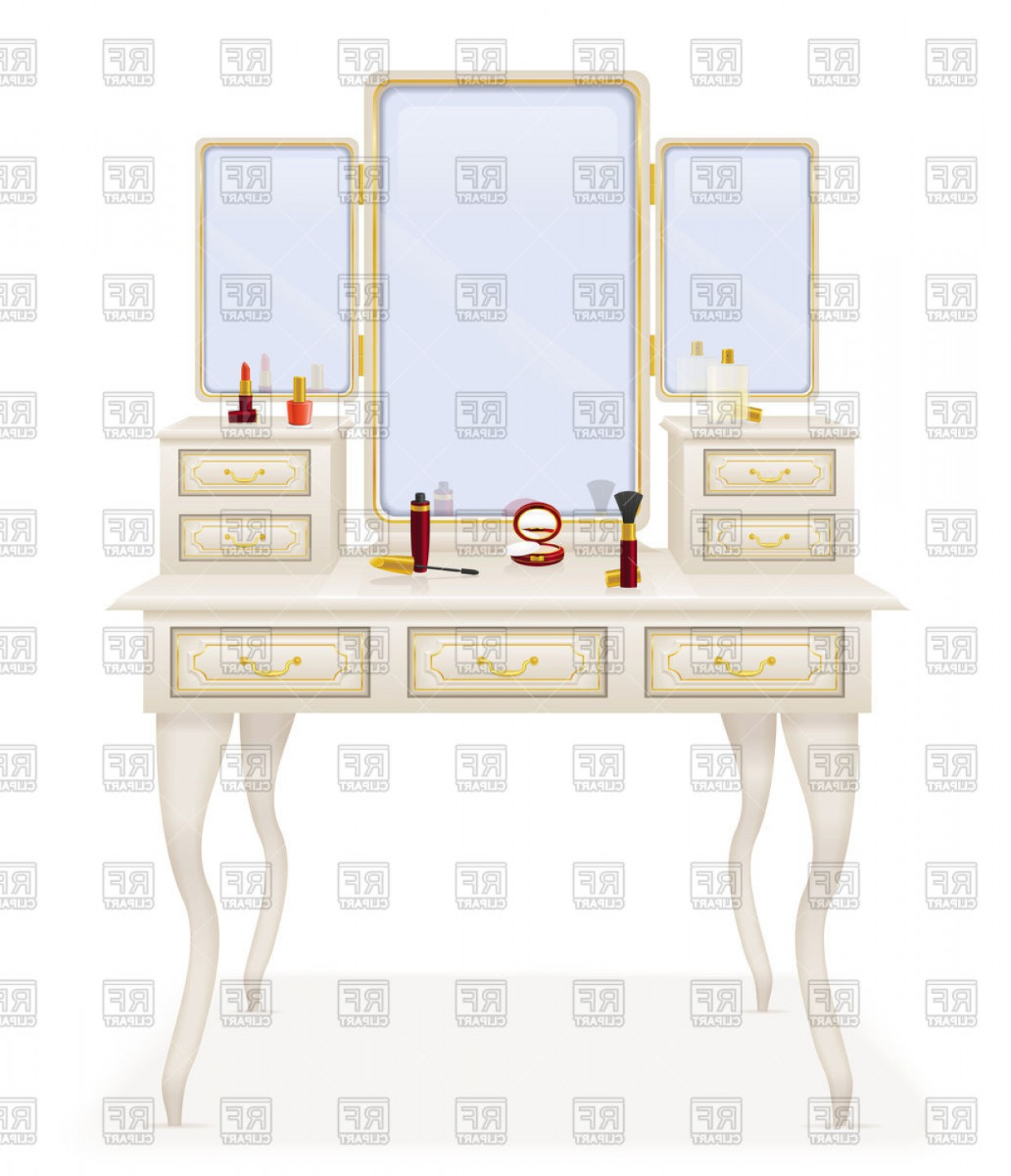 Vector Makeup Vanity Table: Make Up Vanity Table Old Furniture Retro Three Leaved Mirror Vector Clipart