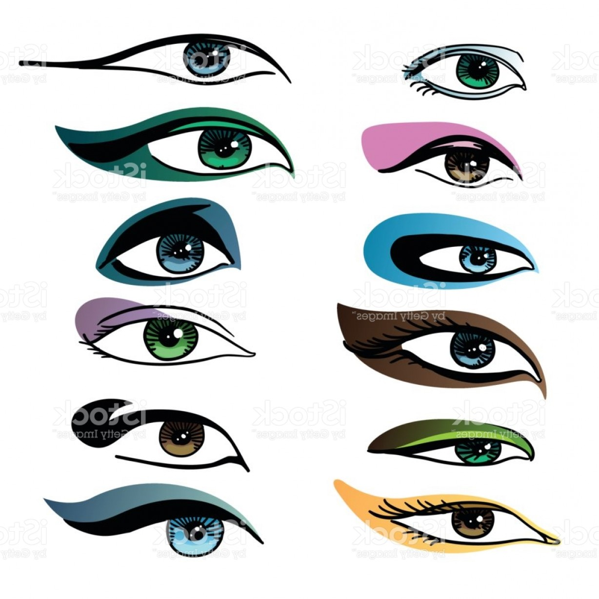 Vector Illustration Eyes Makeup: Makeup For Different Eye Vector Set Of Different Shapes Of Eyes On White Background Gm