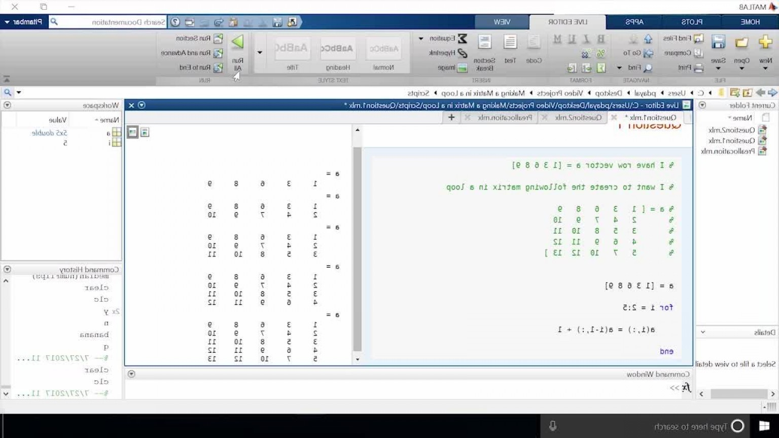 Combine Two Vectors MATLAB: Making A Matrix In A Loop In Matlab